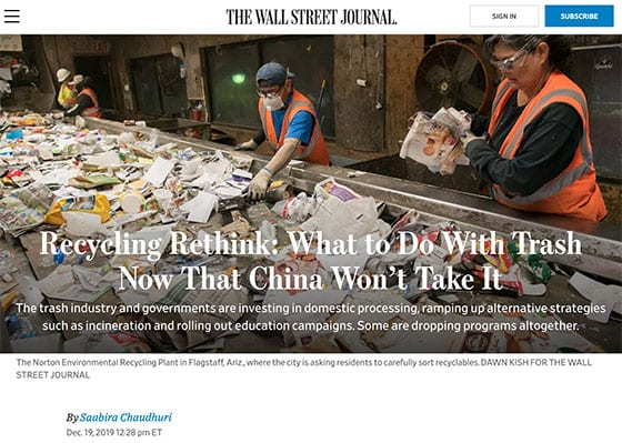 Wall Street Journal Recycling article