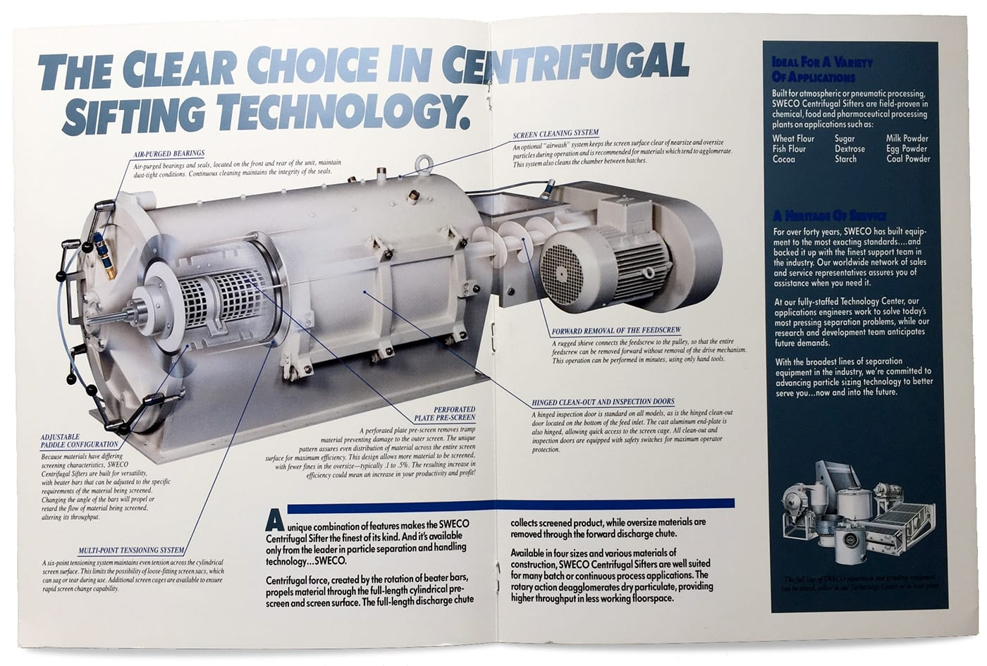 1980s industrial advertisement and illustration for centrifugal sifting