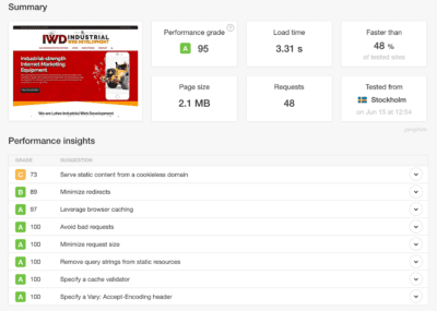 page speed and site speed example from pingdom