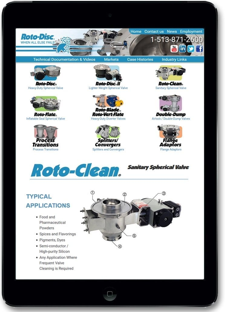 Mobile version of Web Design / Website Design for Rotodisc Cincinnati